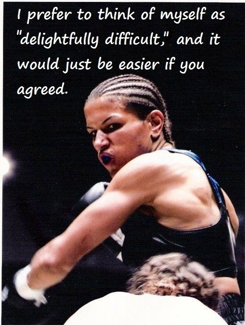 """Picture is of Lucia Rijker, a Dutch professional female boxer, kickboxer, and actress. Rijker has been dubbed by the press and opponents """"The Most Dangerous Woman in the World."""""""