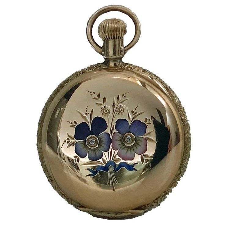 Elgin Ladies Yellow Gold Diamond Enamel Hunter Pocket Watch, circa 1988 | From a unique collection of vintage pocket watches at https://www.1stdibs.com/jewelry/watches/pocket-watches/