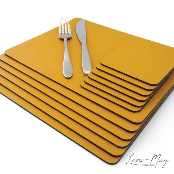 Sets Of 6 Mustard Yellow Recycled Leather Placemats 28cm X 21cm And 6 Leather Coasters Made In The Uk Yellow Placemats Leather Coasters Placemats