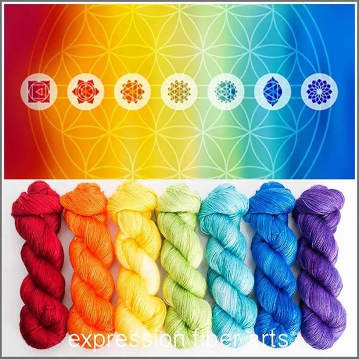 """347 Likes, 6 Comments - Expression Fiber Arts (@expressionfiberarts) on Instagram: """"Our gorgeous Chakra Kit is now available on full size pearlescent fingering yarn ! (550 yards PER…"""""""