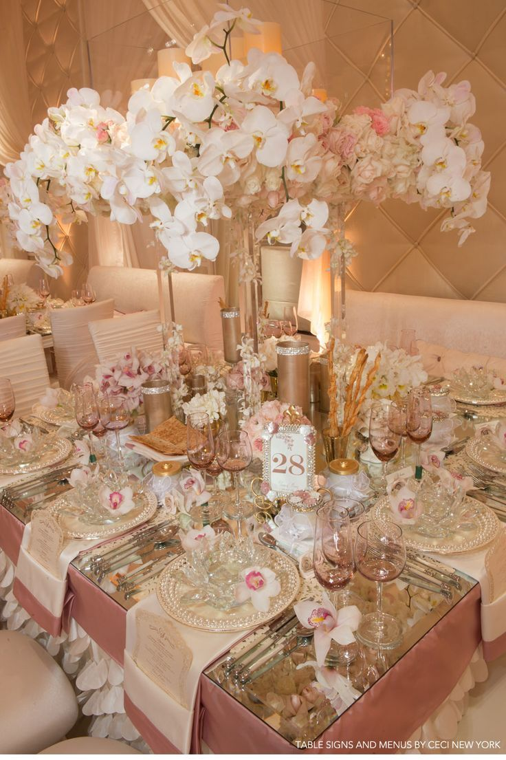 Rose gold wedding inspiration onewed rose gold ruffly wedding chair - Rose Gold Accent Wedding Wedding Menus Place Cards Escort Cards Placemats