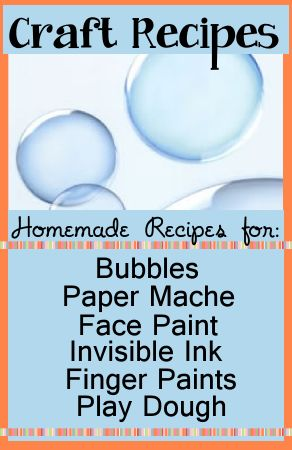 Party Craft Recipes | Birthday Party Ideas for Kids - Homemade recipes for bubbles, finger paint, paper mache (great for homemade pinatas!), play dough and invisible ink!