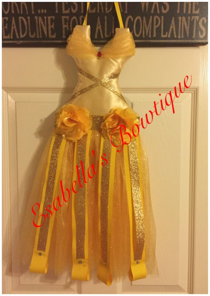 Belle inspired tutu bow holder, beauty and the beast bow holder,Belle tutu Bow holder by EsabellasBowtique on Etsy