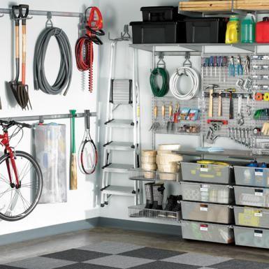 Garage shelving: Platinum elfa utility deluxe garage solution - Elfa