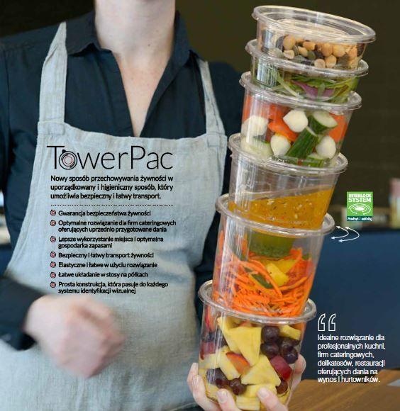 Nowy sposób przechowywania żywności w uporządkowany i higieniczny sposób, który umożliwia bezpieczny i łatwy transport. Przedstawiamy system opakowań TowerPac, który sprawdzi się nie tylko w domu, czy podróży, ale jest idealnym rozwiązaniem dla firm cateringowych.