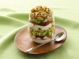 Crunchy-Topped Strawberry-Kiwi Parfaits..............Layer Banana Nut Cheerios® cereal, fruit and yogurt for a good-for-you treat.