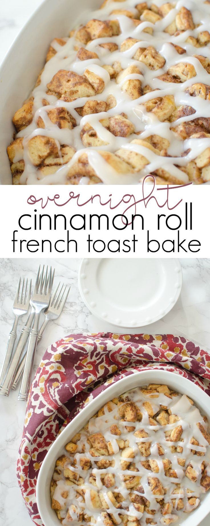 Start a new holiday tradition with Overnight Cinnamon Roll French Toast Bake for breakfast! @Pillsbury #ItsBakingSeason AD