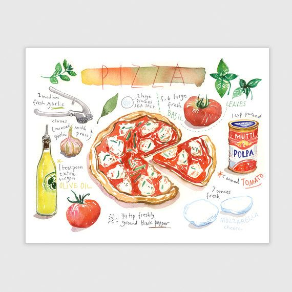 Kitchen art print, Pizza recipe poster, Italian food watercolor illustration, Neapolitan pizza painting, Italian themed gift, Italy wall art