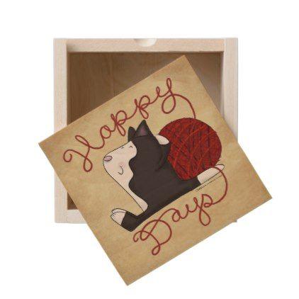 Tuxedo Cat- Happy Days Wooden Keepsake Box - white gifts elegant diy gift ideas