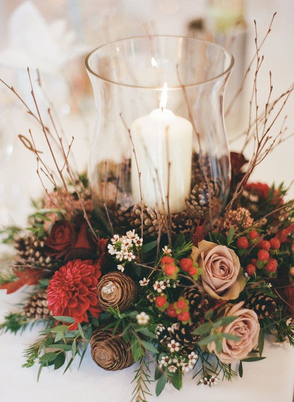 Storm Lantern Centrepiece amnesia roses fir cones pine cones wax flowers hypericum berries baccarra roses
