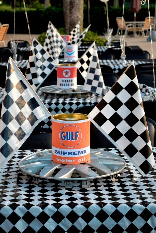 Car themed centerpieces | Someone's 50th Birthday Party ...