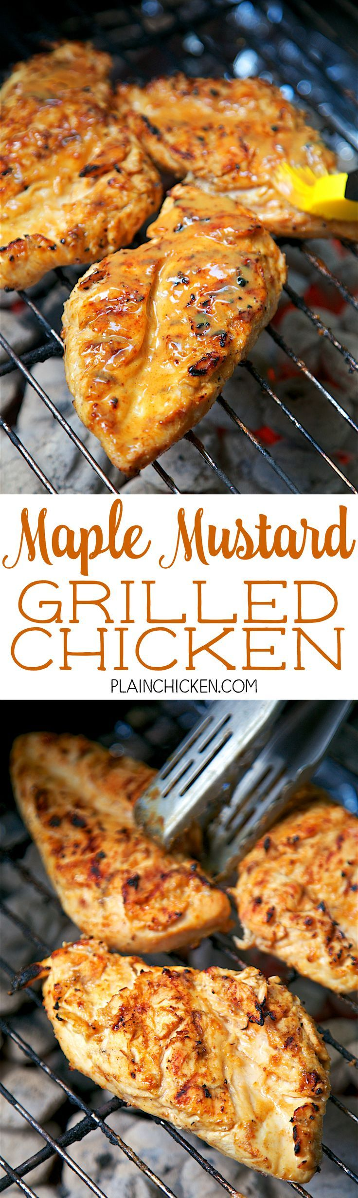 Maple Mustard Grilled Chicken - so simple! Only 6 ingredients - chicken, maple, dijon mustard, lemon juice, paprika and salt. Let the chicken marinate in the fridge and then grill. We LOVE this chicken. My husband asks me to make this at least once a week!