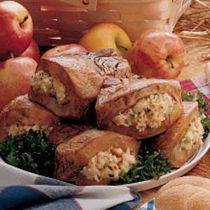 Apple-Stuffed Pork Chops Recipe -apples, onions, breadcrumbs, bacon, maple glaze