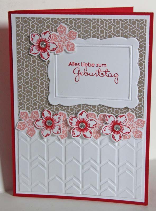 Stampin' Up Petite Petals and arrows embossing folder - I like how it makes it look like a fence.