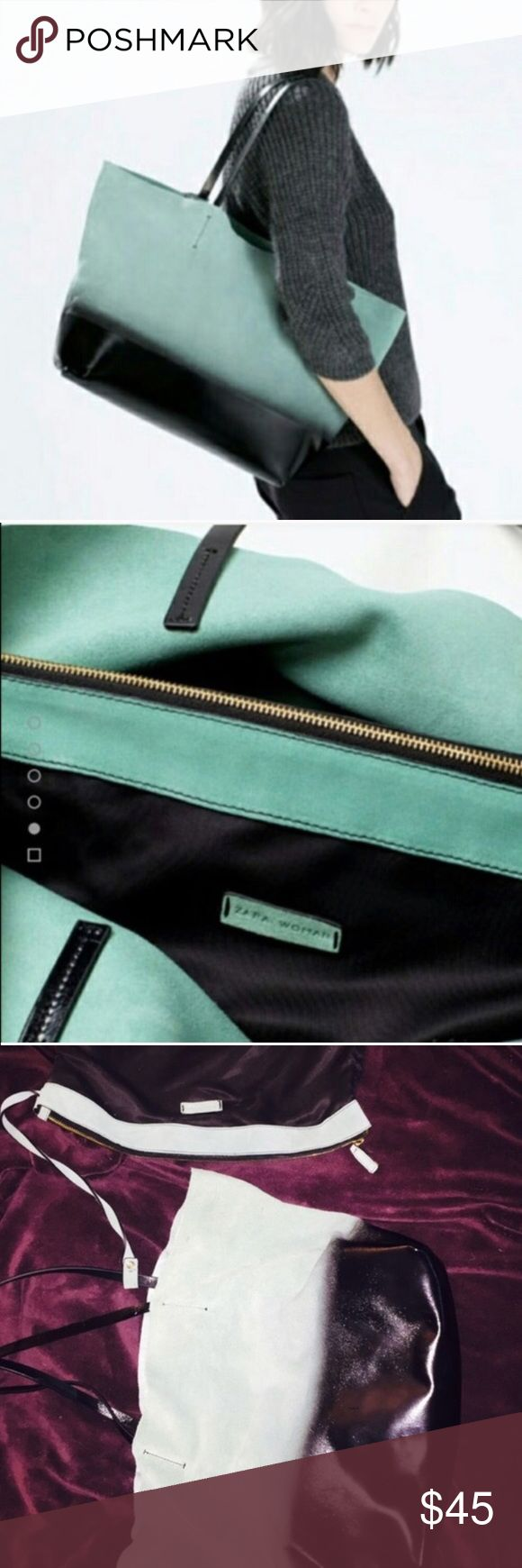 ZARA Purse Never used, comes with full-size make up bag hooked inside. The color is an elegant turquoise/Tiffany's blue with black color on the bottom. Feels like suede on top and a leather on bottom. Zara Bags