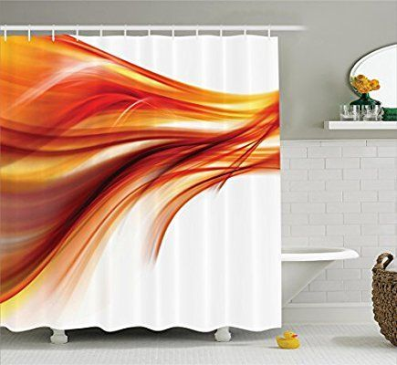 Orange Shower Curtain Set Abstract Home Decor By Ambesonne, Modern Contemporary Abstract Smooth Lines Blurred Art Print, Bathroom Accessories, With Hooks, 69W X 70L Inches, Dark Red Orange