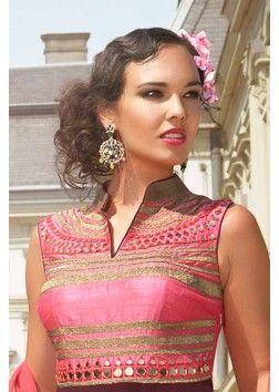 Purple & pink raw silk & georgette alluring anarkali with chinese collar -SL4769