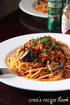 揚げナスと挽肉のトマトパスタ