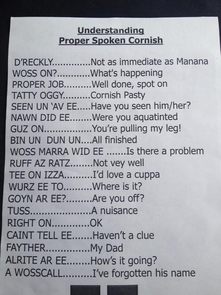 Language pointers. If you watch Doc Martin, you can almost hear the characters pronouncing these words.