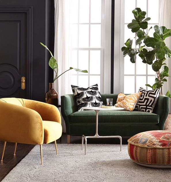 Living room with green sofa. Wall colour Benjamin More Century line Conte on walls . shot by #michaelnangreaves.com