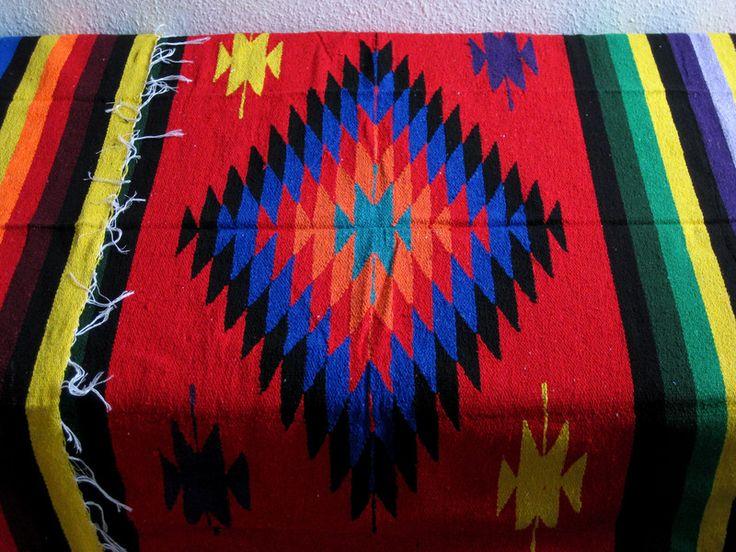 Tagesdecken - Mexikanische Decke mit Raute-Muster 200x125 cm Rot - ein Designerstück von mexican_handcraft bei DaWanda