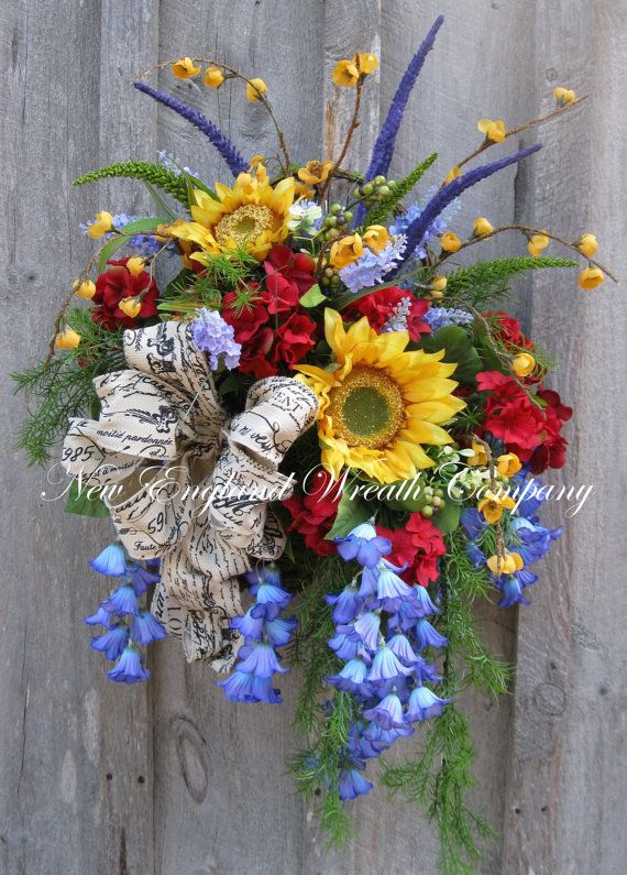 Summer Wreath, Floral Wall Bouquet, Country French Wreath, Sunflower Bouquet, Designer Wreath, Country Cottage Wreath,