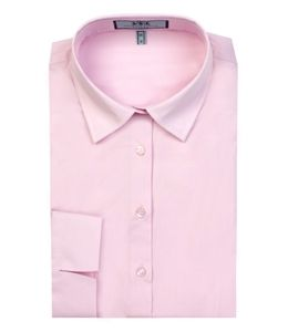 Women's Pink Fitted 3 Quarter Sleeve Shirt - Low Collar