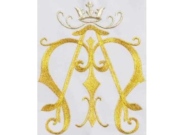 Mantel de altar con monograma mariano