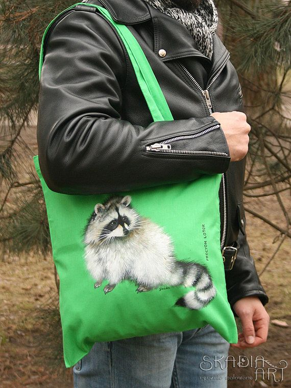 Check out this item in my Etsy shop https://www.etsy.com/listing/231385051/cotton-bag-with-a-painted-racoon