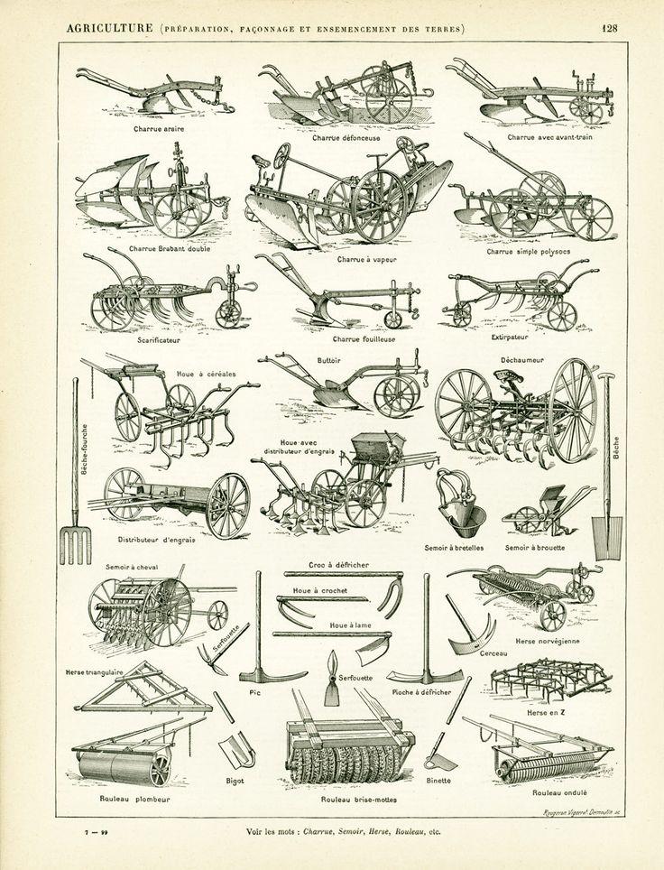 1897 material ex colección agrícola arado sembradora grada