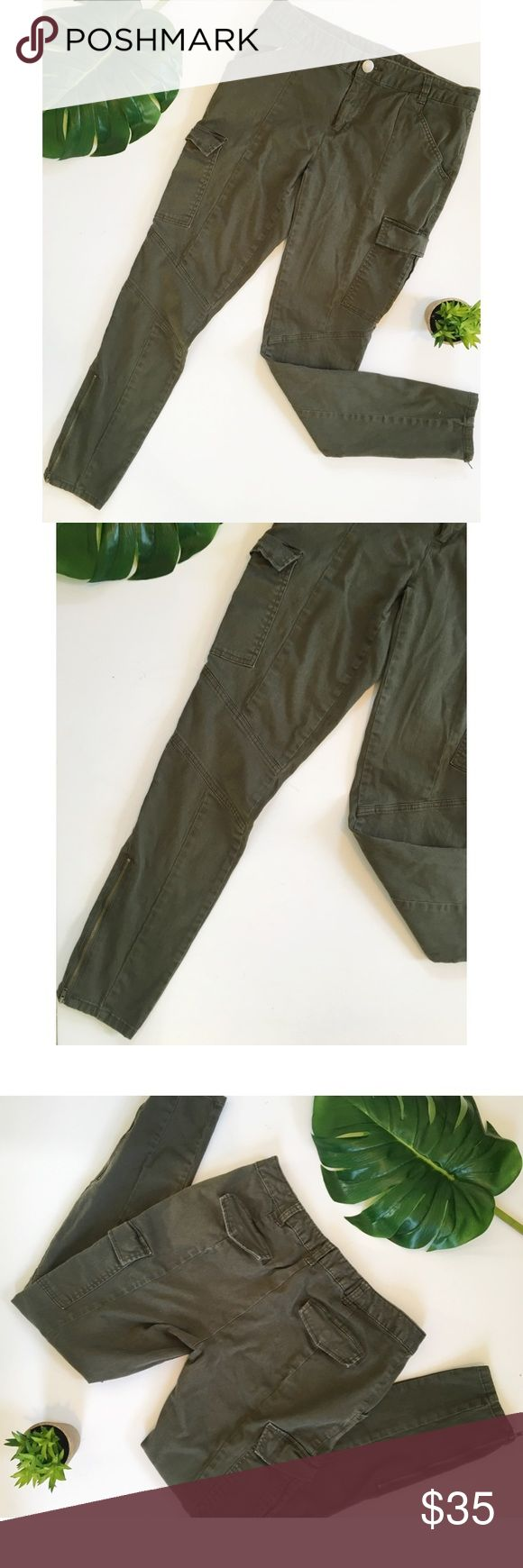 """INC Army Green Skinny Cargo Moto Pants Super cute dark green Moto style skinny pants. Khaki material. Flap pockets and zippers at the ankles. Size 8. Measurements are approximate: inseam 30"""", waist 16"""" across laid flat, 8.5"""" rise. INC International Concepts Pants Skinny"""