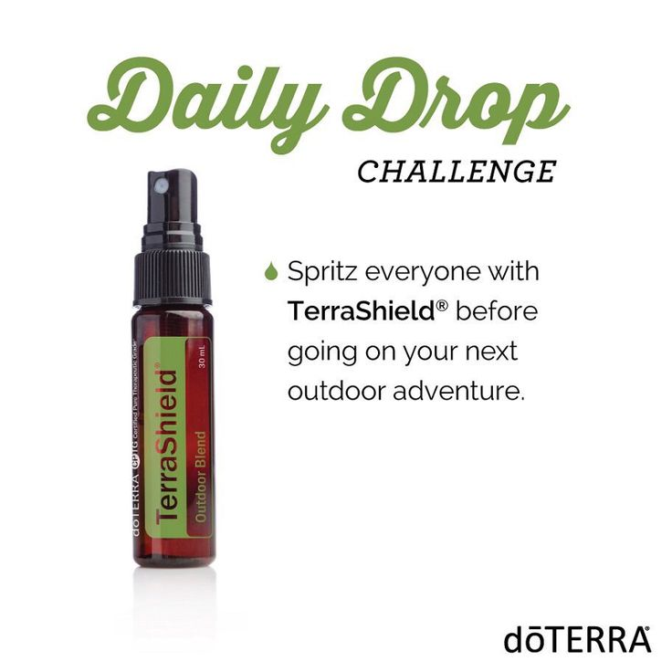 Daily Drop Challenge Spritz everyone with TerraShield before going on your next outdoor adventure. #doterra #terrashield #essential #oils