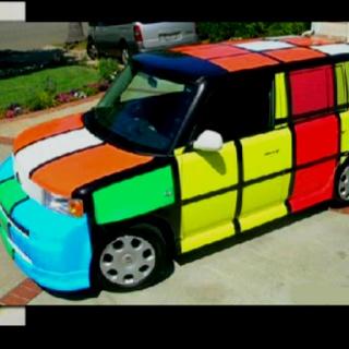 Love this Rubix cube car.