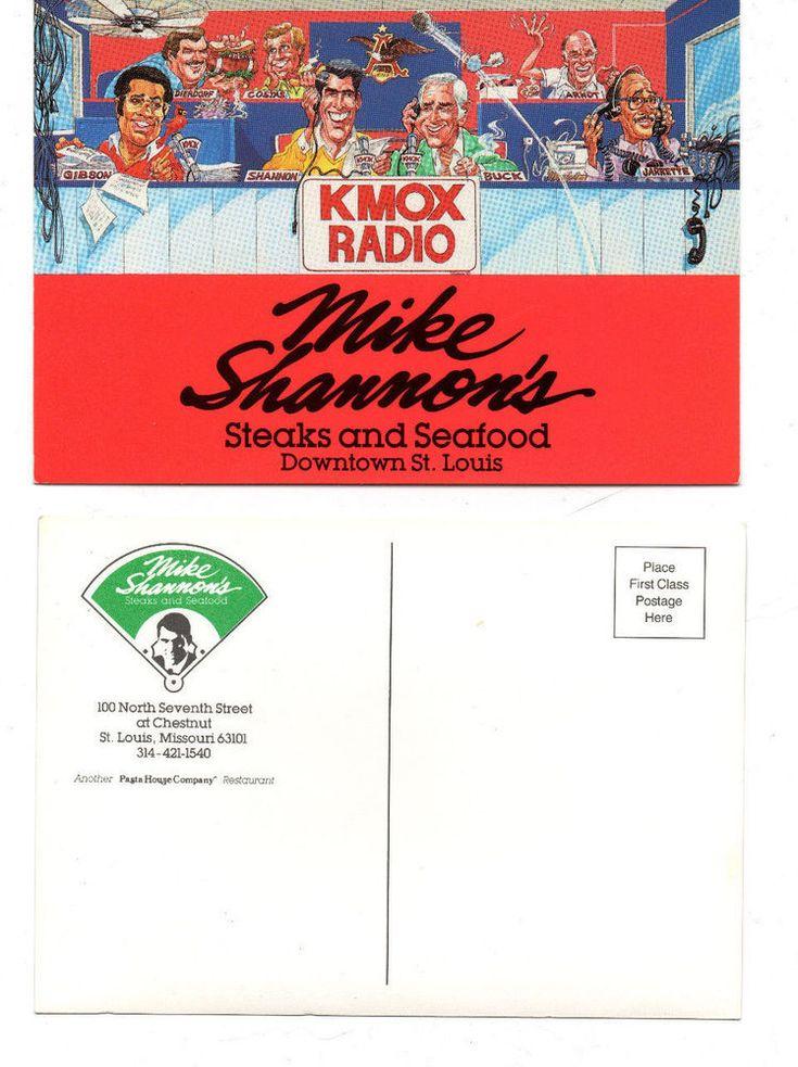 The KMOX card features Bob Costas, Dan Dierdorf, Bob Gibson, Mike Shannon, Jack Buck