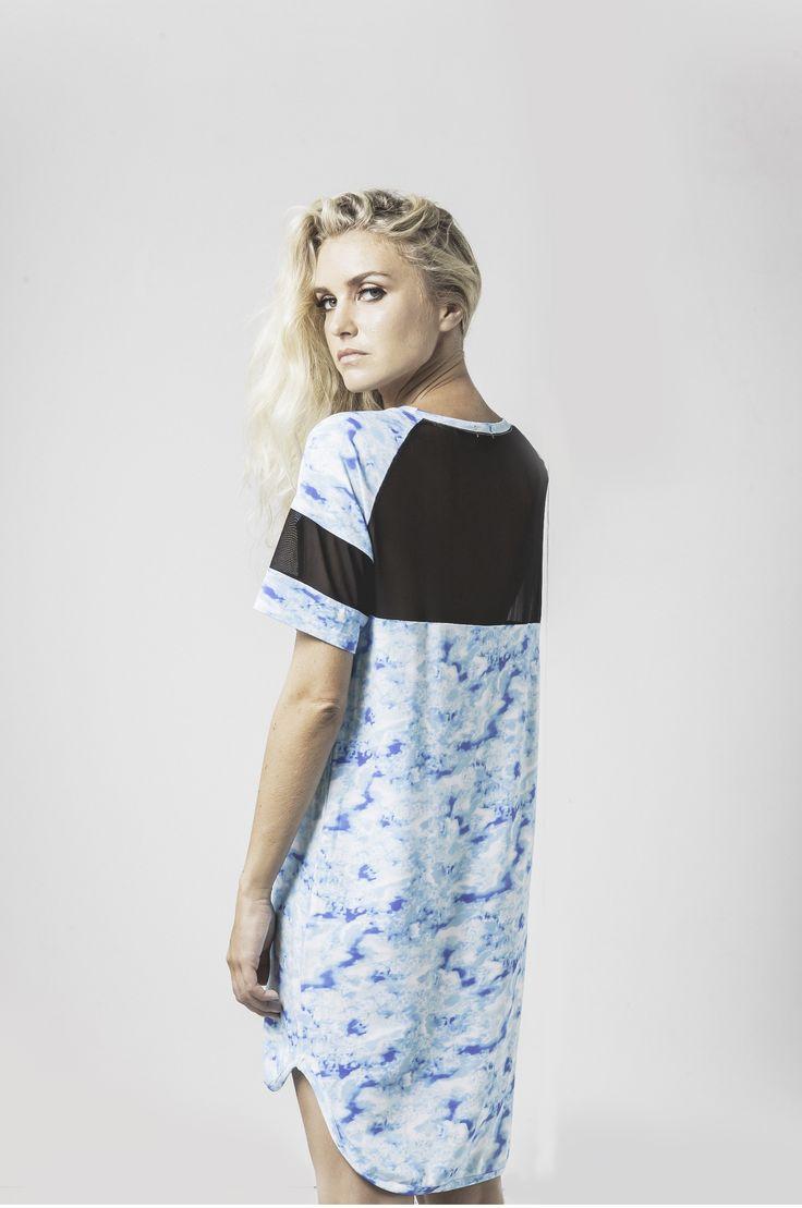 leesa mesh trim nightie in water print available now @ marceau.com.au