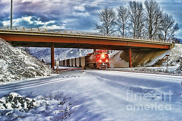Cp Coal Train coming under the Hwy.11 overpass in Abbotsford, B.C. in the winter of 2012. www.rharrisphotos.com