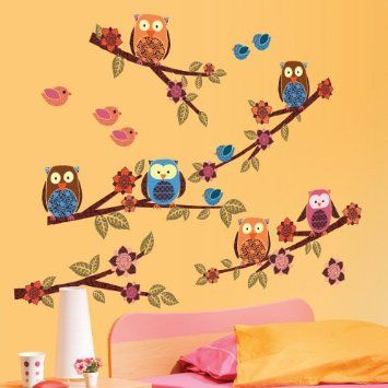 Amazon.com: Lot 26 Studio ADD-HERES Owls and Branches Wall Stickers, 12 x 24-Inches: Home & Kitchen