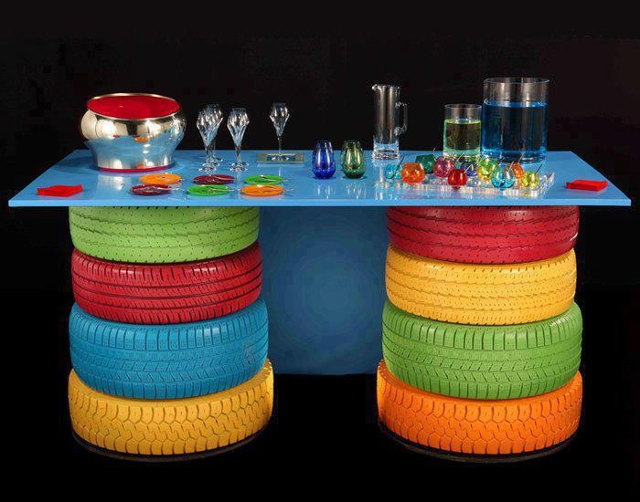 Colorear gomas de autos para cualquier uso.: Diy Ideas, Bar Tables, Old Tired, Diy Crafts, Reuse Recycled, Recycled Tired, Outdoor Tables, Outdoor Bar, Kids Rooms