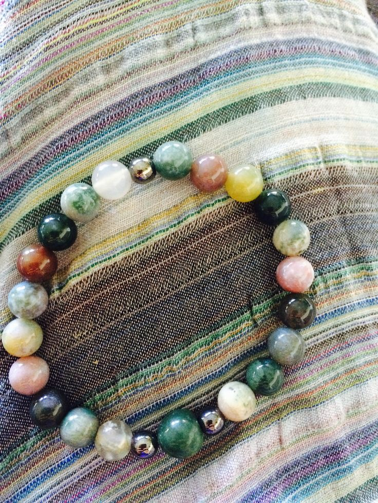 Indian Agat, Jasper & Hematitt Meditation mala bead. Lighting up your way to enlightenment. Brings happiness and good luck.