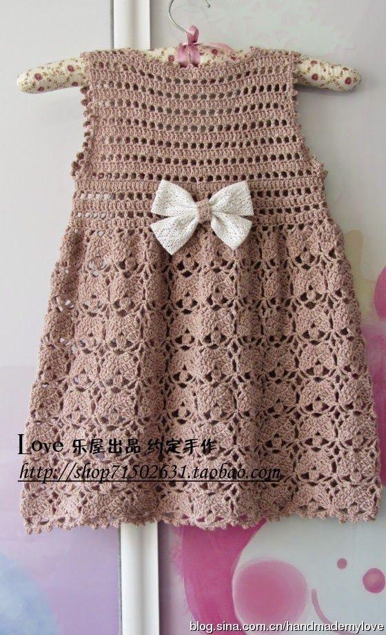 #511 Vestido de niña a Crochet o Ganchillo