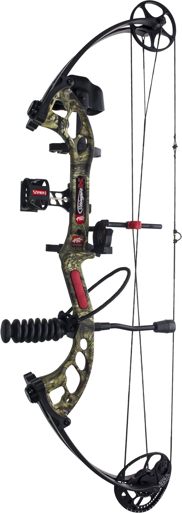 Side view of the PSE Stinger X Camo fully-outfitted with accessories.