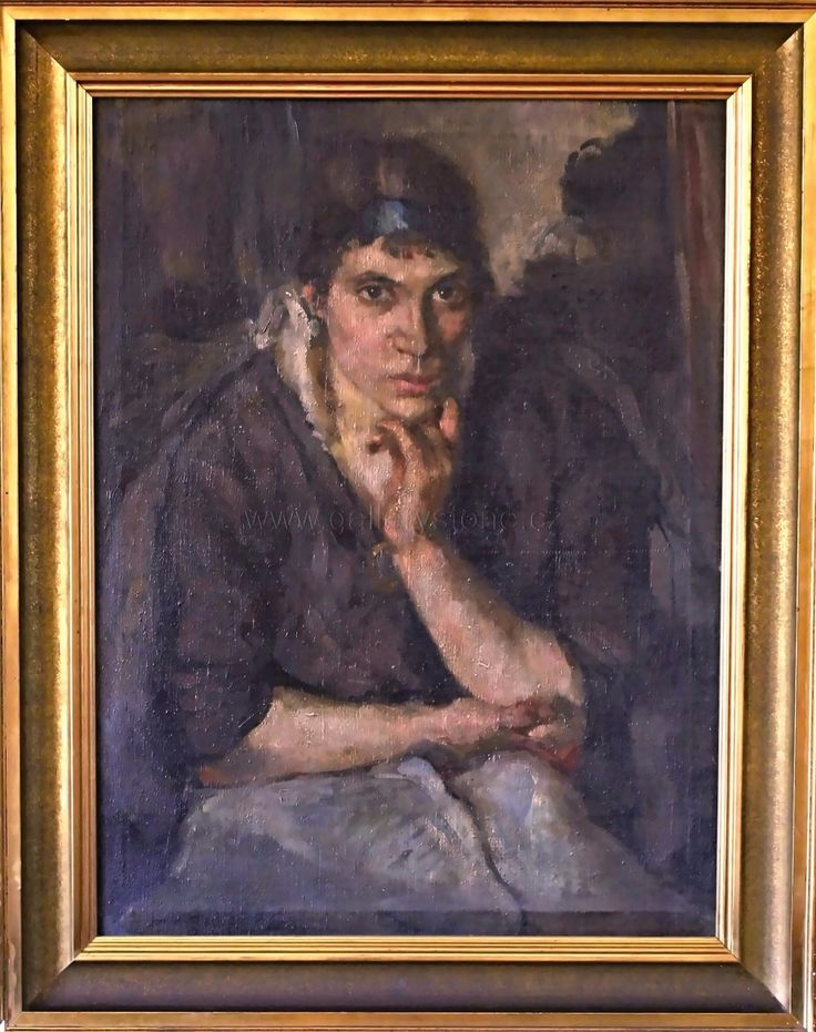 Tavík Šimon František ( 1877 - 1942 ) - Upřený pohled - cca 1910 - olej,plátno -  90x70