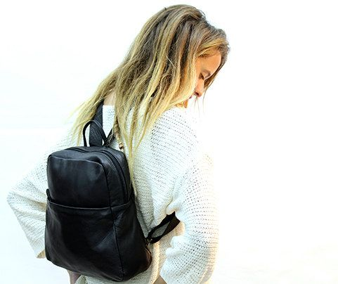 Check out Sale!!! Black Leather Backpack Womens Small Laptop Backpack black Women Leather backpack iPad backpack satchel school backpack on limorgalili