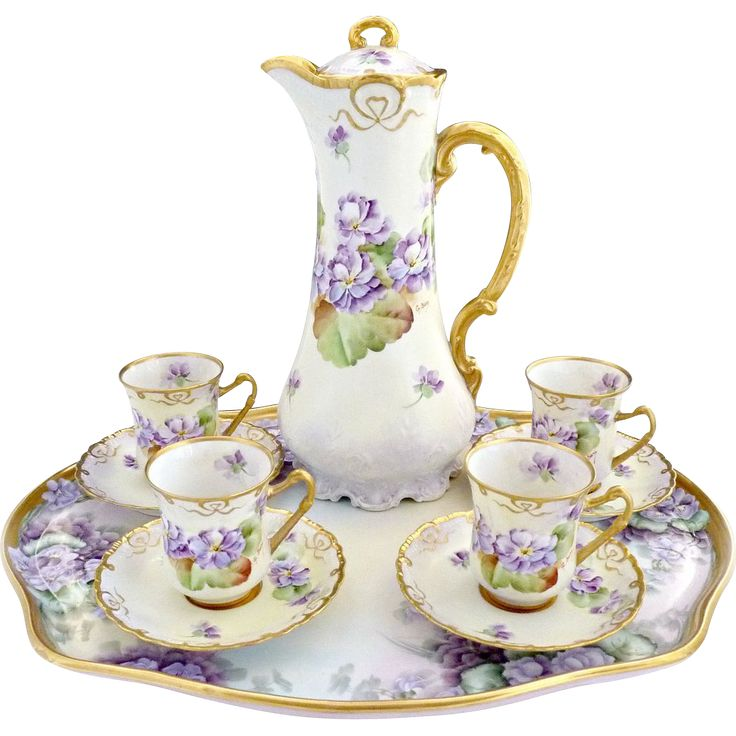 Victorian Hand Painted Chocolate Set Featuring An Elegant Purple Violet Decoration With Ginori Hallmarks   c.1900 - Paired With A Guerin Limoges Hand Painted Tray