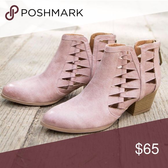 """Vegan Leather Ankle Booties This blush color is so cute and the cutouts make for an awesome detail! The heels are 2"""". From spring through winter, these boots were made for walking! WILA Shoes Ankle Boots & Booties"""