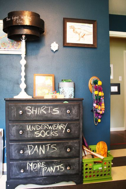 Really neat idea, though I'm not sure about the chalkboard paint on a dresser.