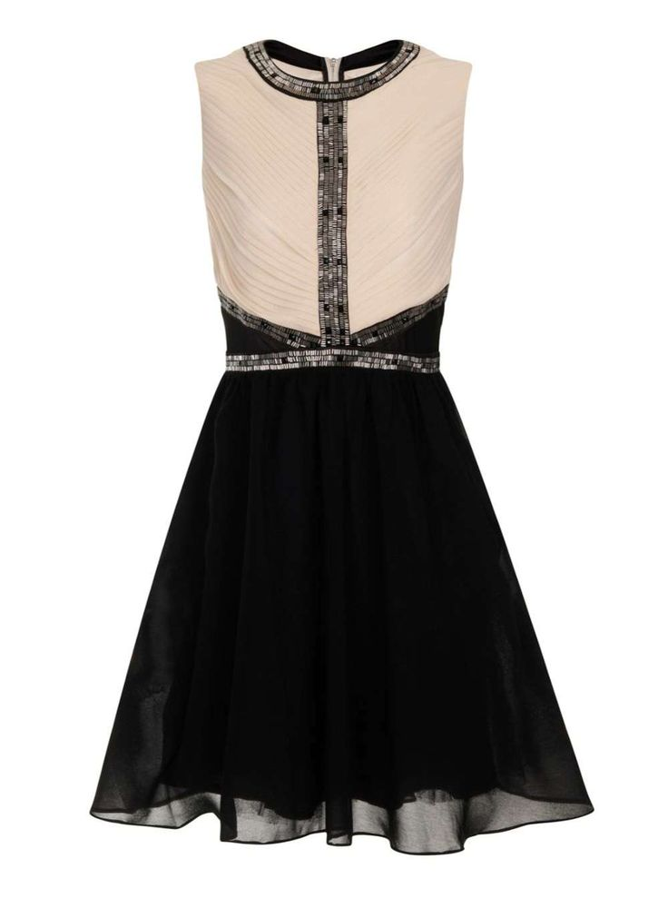 **Little Mistress Cream and Black Fit and Flare Dress