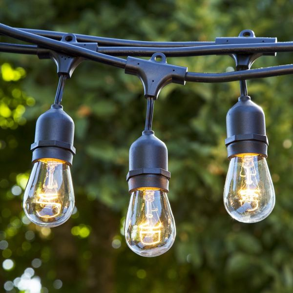 Lighting Weatherproof String Lights with 15 Dropped Sockets, 48-Feet, Black – With Bulbs