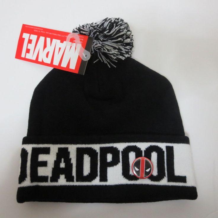 New Marvel Deadpool Logo HAT CAP Knit Winter Black HAT Beanie Skullcap Cosplay #Deadpool #Beanie