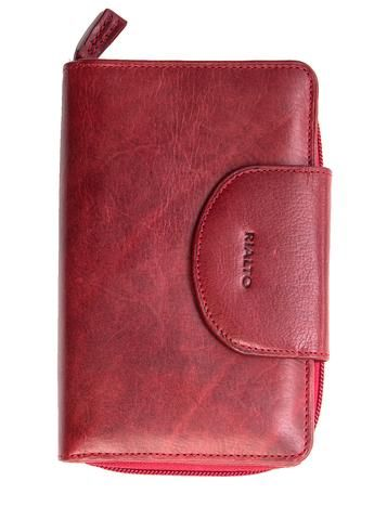 red leather tab zipper clutch wallet. 100% Made in Italy from vegetable dyed leather.